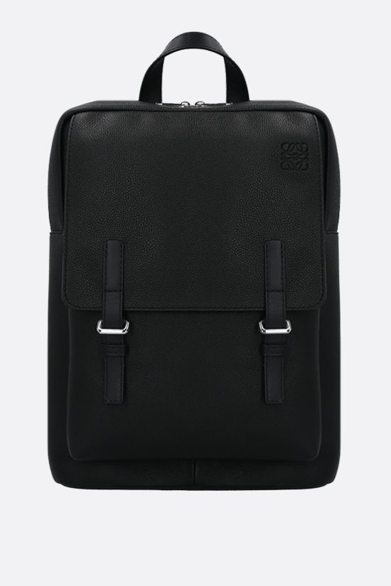 LOEWE: Military grainy leather backpack Color Black_1