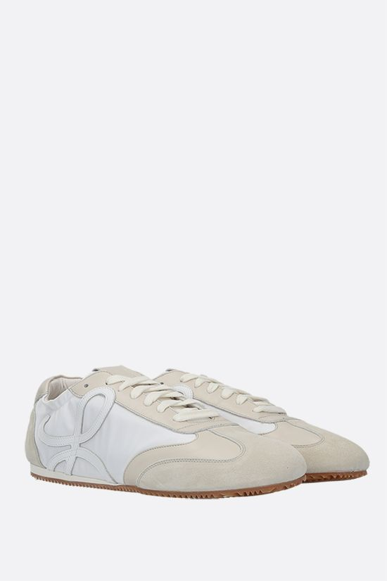 LOEWE: Ballet nylon and suede sneakers Color White_2