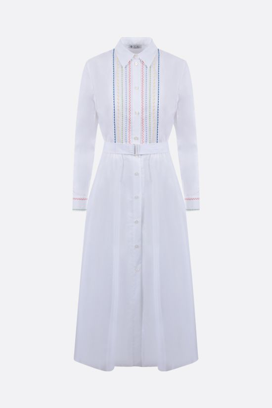 LORO PIANA: Lucienne poplin shirt dress with embroidered bib Color White_1