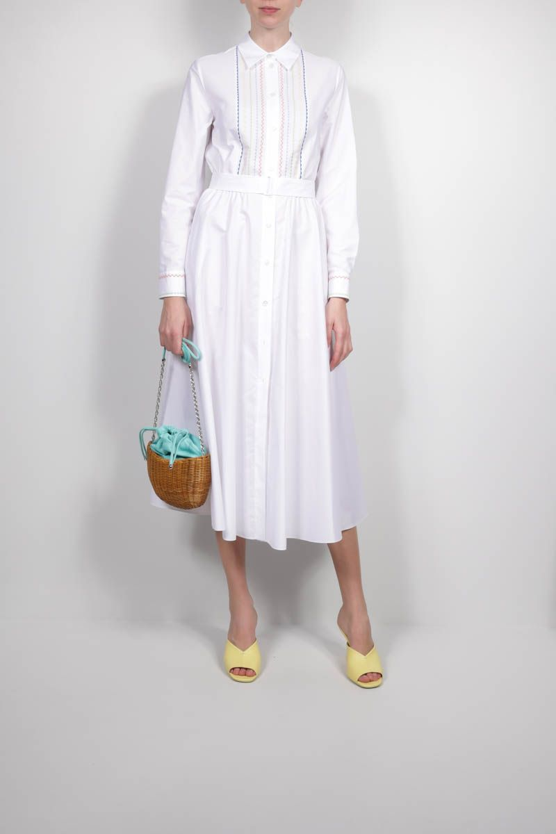 LORO PIANA: Lucienne poplin shirt dress with embroidered bib Color White_2