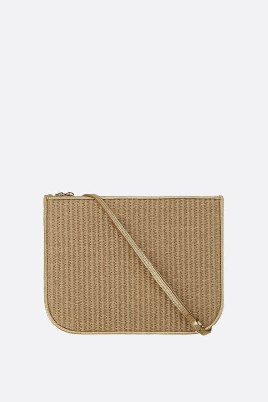 LORO PIANA: My Way raffia and laminated leather shoulder bag Color Brown_1