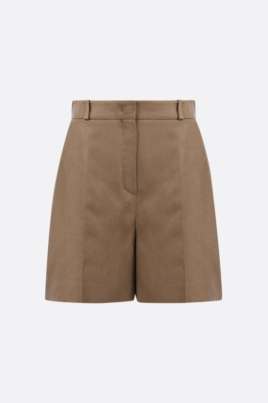LORO PIANA: Emil Antigua linen shorts Color Green_1