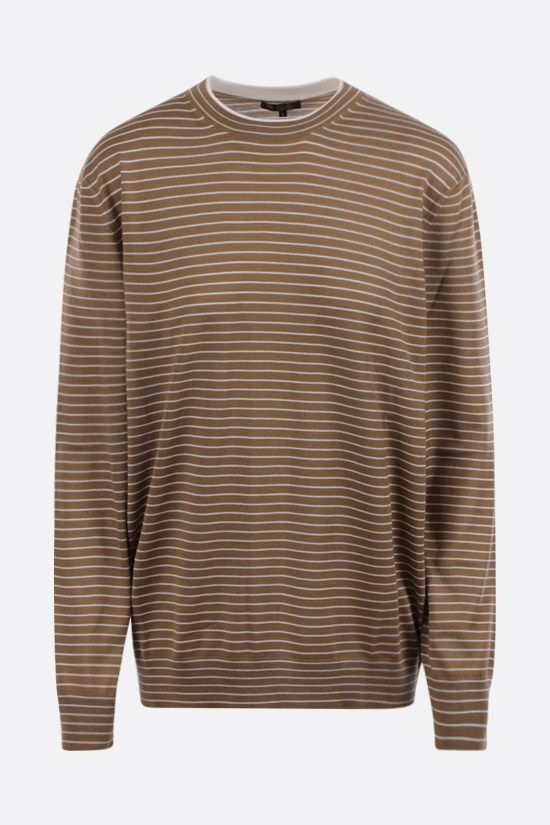 LORO PIANA: Fontvieille striped cashmere silk blend pullover Color Brown_1