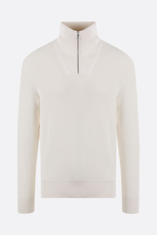 LORO PIANA: silk cotton blend half-zip pullover Color White_1