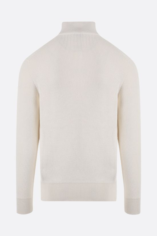 LORO PIANA: silk cotton blend half-zip pullover Color White_2