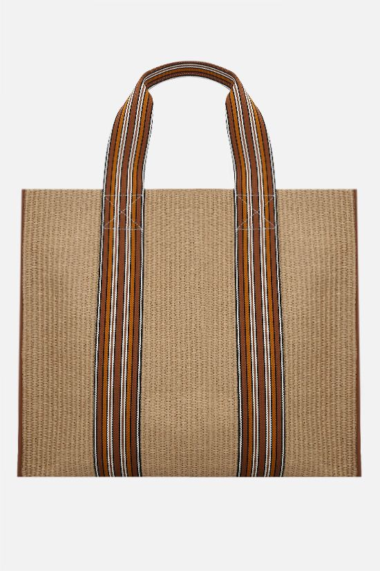 LORO PIANA: The Suitcase large canvas and raffia tote bag Color Brown_1