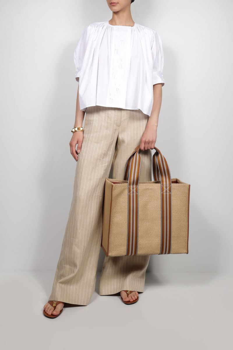 LORO PIANA: The Suitcase large canvas and raffia tote bag Color Brown_2