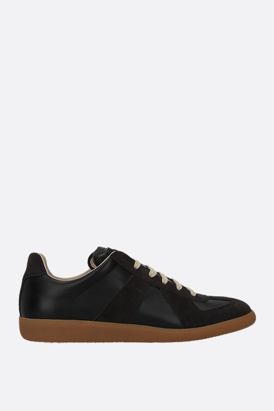 MAISON MARGIELA: Replica smooth leather and suede sneakers Color Black_1