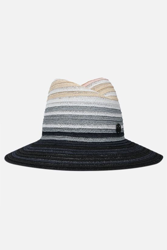 MAISON MICHEL: Virginie straw fedora hat Color Multicolor_1