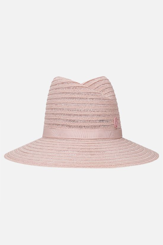 MAISON MICHEL: Virginie straw fedora hat Color Pink_1