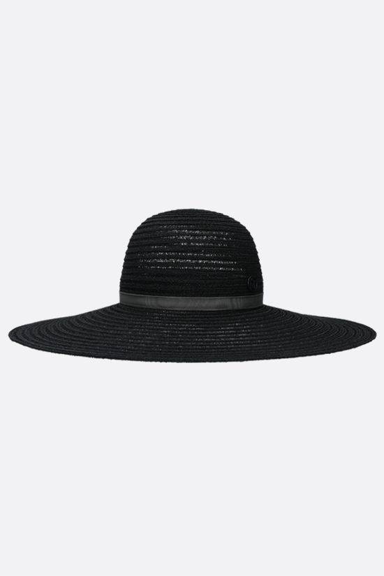 MAISON MICHEL: Blanche straw wide-brim hat Color Black_1
