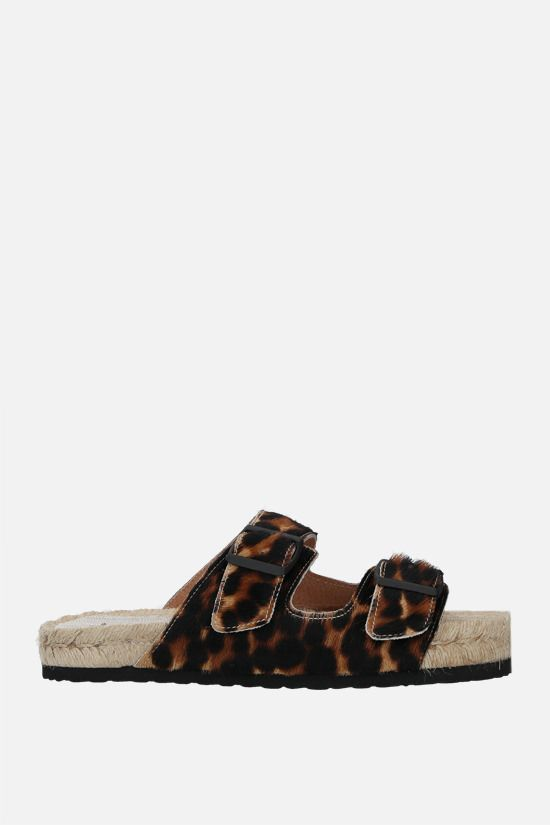 MANEBì: leopard calf hair espadrille sandals Color Animalier_1
