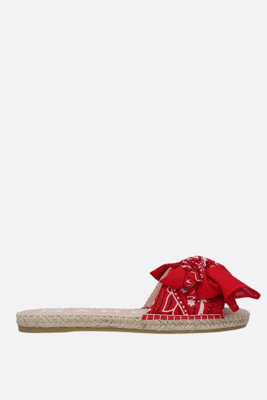 MANEBI: bandana bow-detailed canvas espadrille sandals Color Red_1