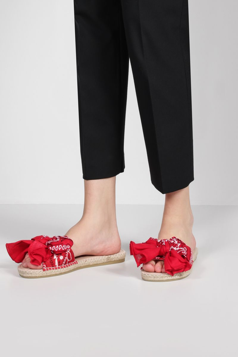 MANEBì: bandana bow-detailed canvas espadrille sandals Color Red_2