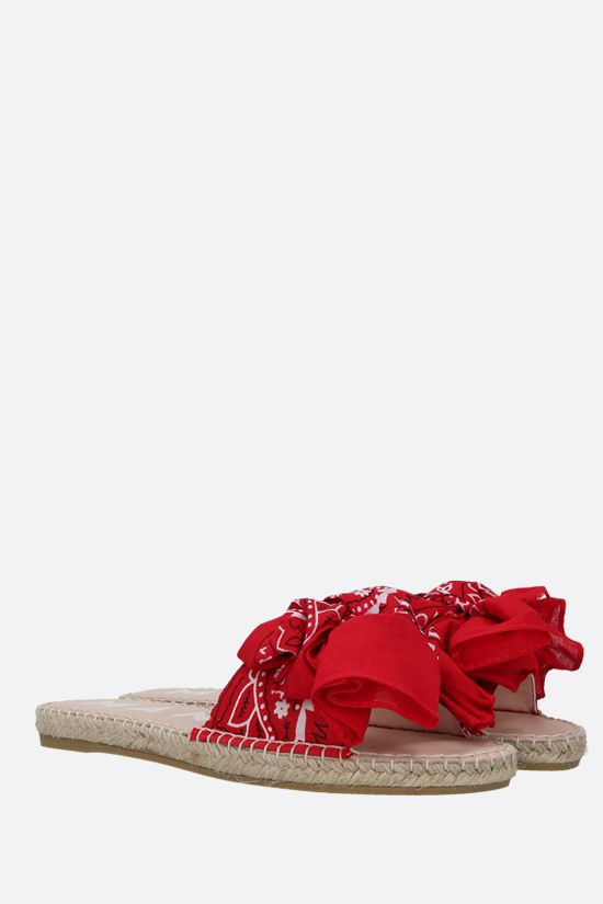 MANEBI: bandana bow-detailed canvas espadrille sandals Color Red_2