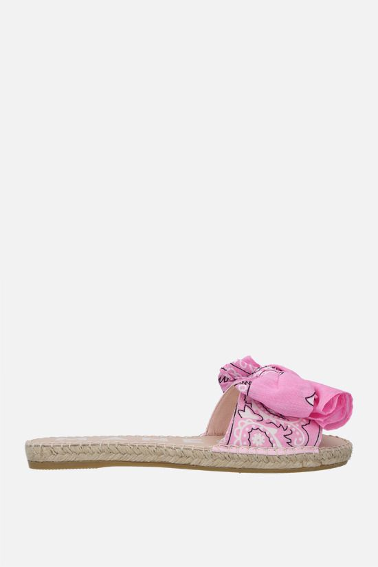 MANEBì: bandana bow-detailed canvas espadrille sandals Color Pink_1