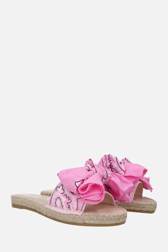 MANEBì: bandana bow-detailed canvas espadrille sandals Color Pink_2