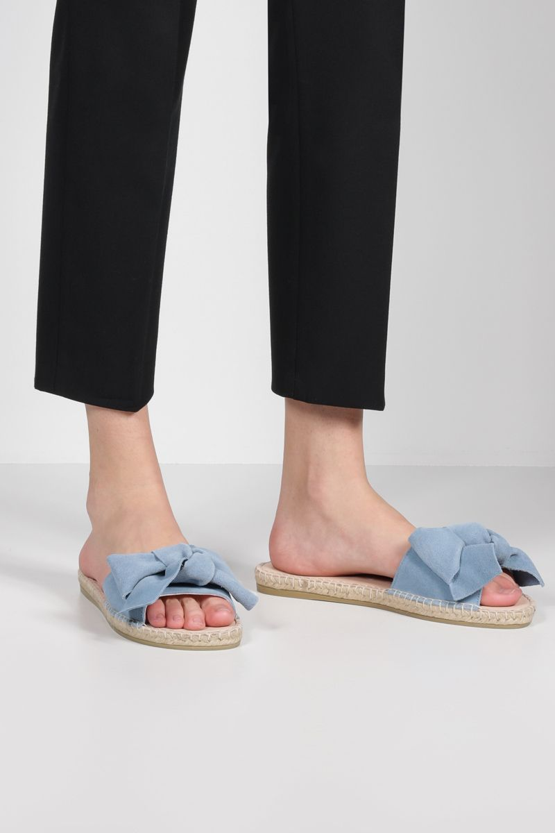 MANEBì: bow-detailed suede espadrille sandals Color Blue_2