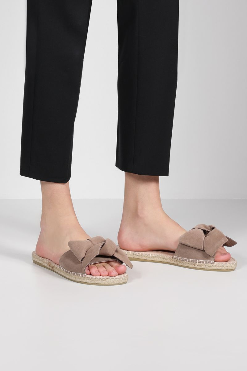 MANEBì: bow-detailed suede espadrille sandals Color Neutral_2