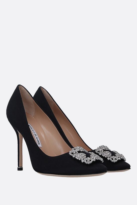 MANOLO BLAHNIK: Hangisi satin pumps Color Black_2