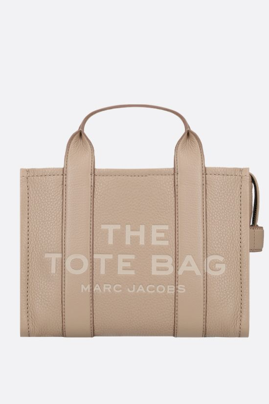 MARC JACOBS: The Traveler mini grainy leather tote bag Color Neutral_1