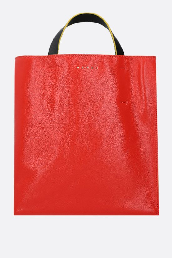 MARNI: Museo Soft smooth leather shopping bag Color Orange_1