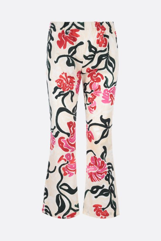 MARNI: Tropical print cotton flared pants Color Multicolor_1
