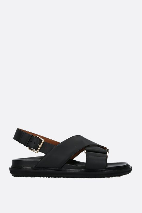MARNI: Fussbett smooth leather flat sandals Color Black_1