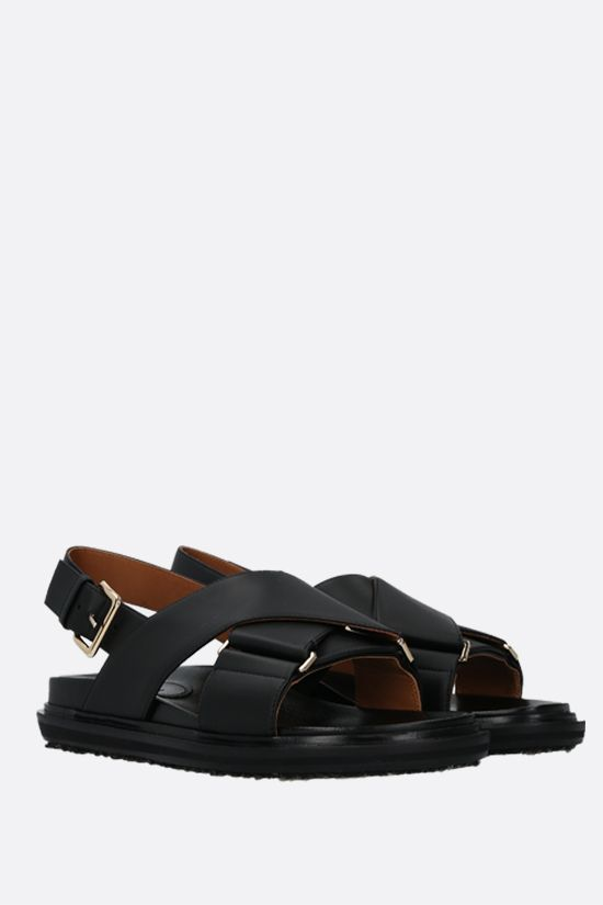 MARNI: Fussbett smooth leather flat sandals Color Black_2