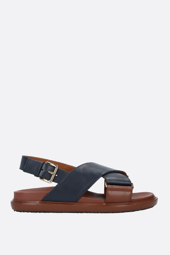 MARNI: Fussbett smooth leather flat sandals Color Blue_1