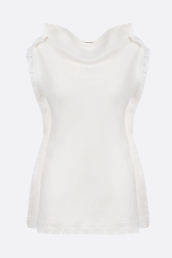 MARNI: fringe-detailed canapa blend top Color White_1