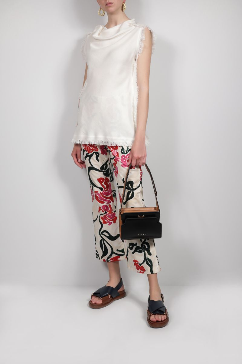 MARNI: fringe-detailed canapa blend top Color White_2