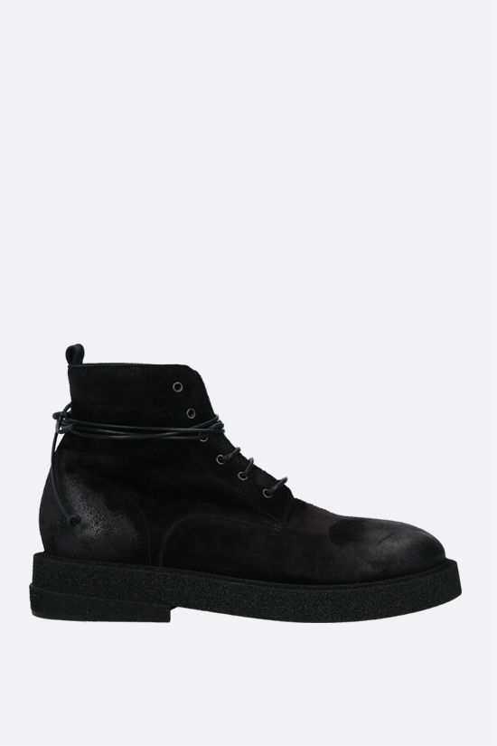 MARSELL: Micrucca suede combat boots Color Black_1