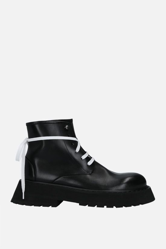 MARSELL: Micarro smooth leather combat boots Color Black_1