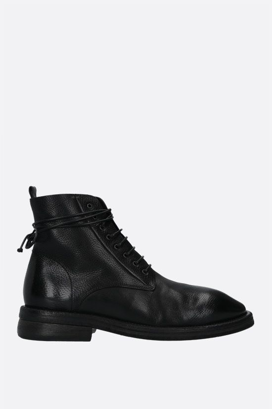 MARSELL: Dodone smooth and grainy leather combat boots Color Black_1