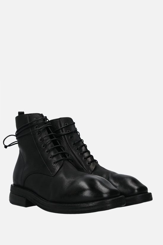 MARSELL: Dodone smooth and grainy leather combat boots Color Black_2