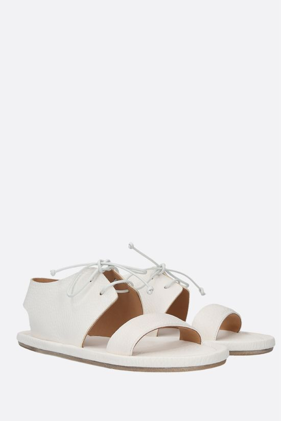 MARSELL: Cornice grainy leather flat sandals Color White_2