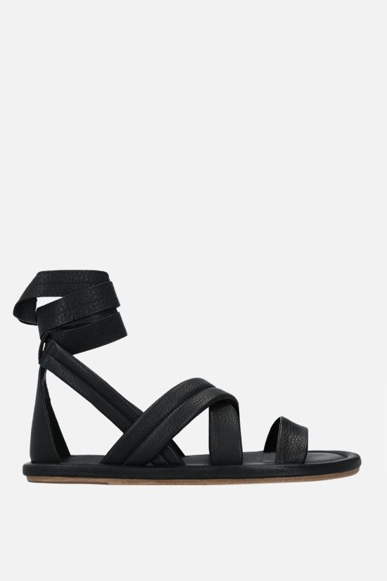 MARSELL: Cornice grainy leather flat sandals Color Black_1