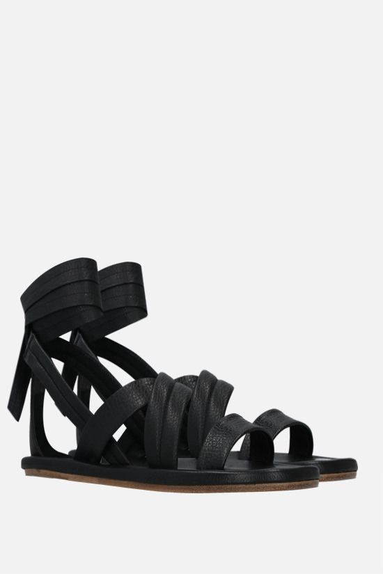MARSELL: Cornice grainy leather flat sandals Color Black_2
