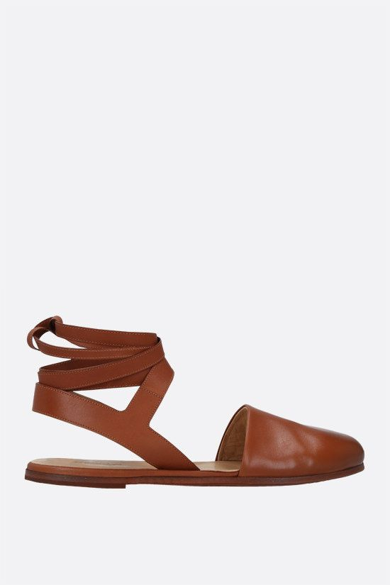 MARSELL: Marcella smooth leather flat sandals Color Brown_1