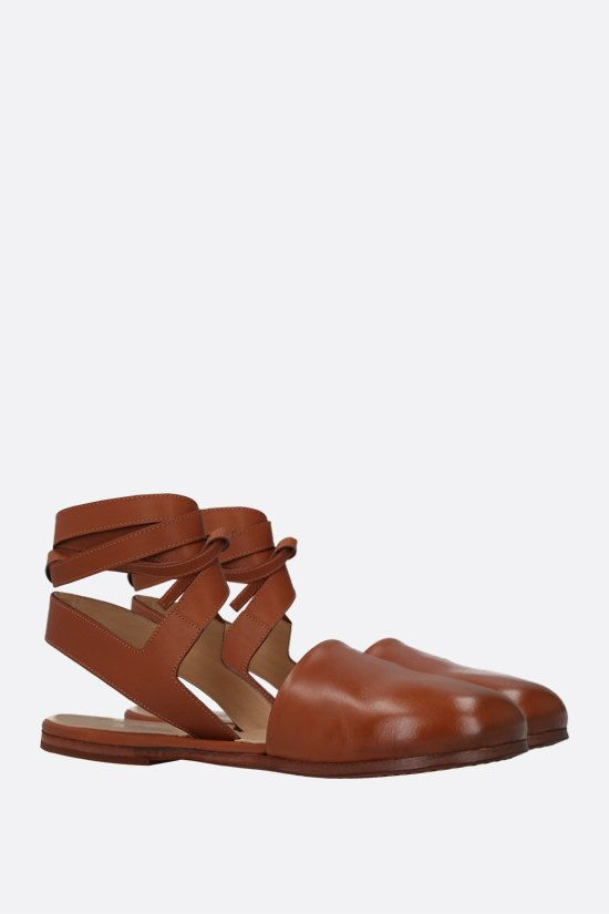 MARSELL: Marcella smooth leather flat sandals Color Brown_2