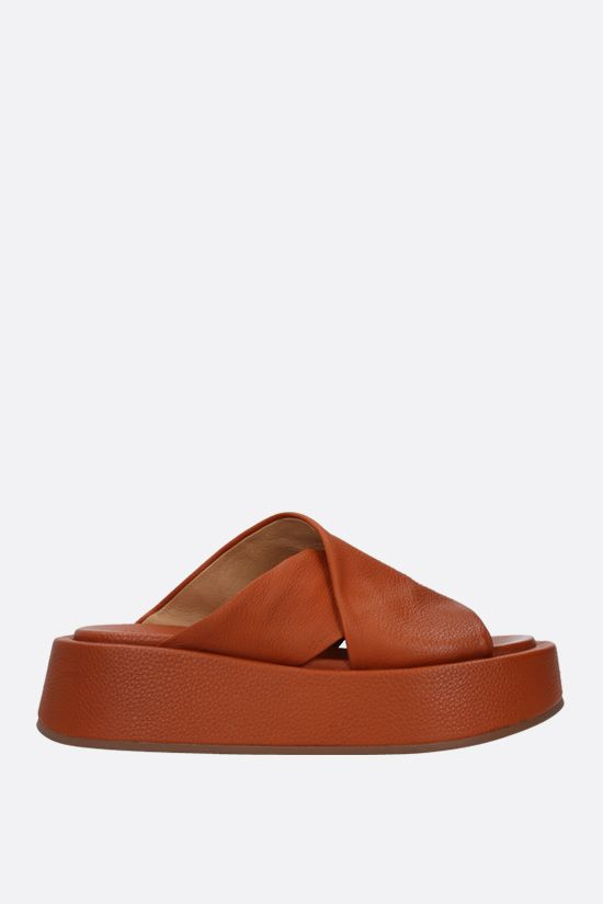 MARSELL: Piattaforma grainy leather sandals Color Brown_1