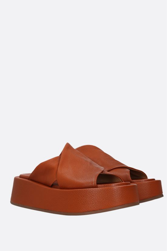 MARSELL: Piattaforma grainy leather sandals Color Brown_2