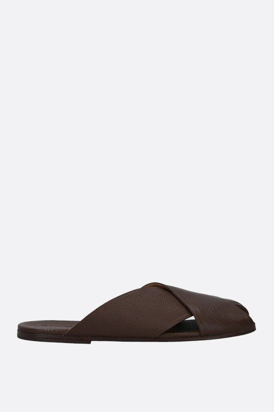 MARSELL: Spatola grainy leather slide sandals Color Brown_1