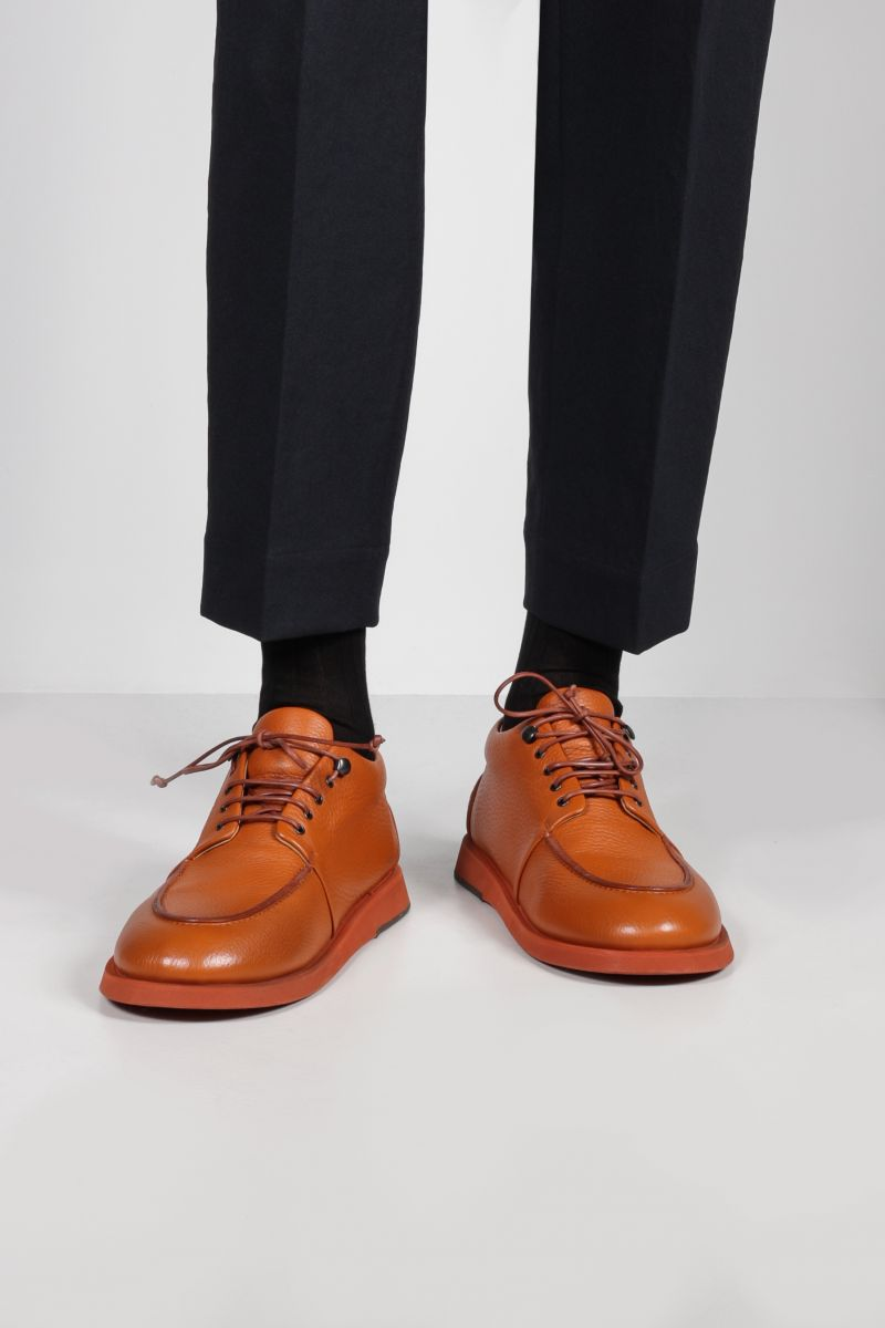 MARSELL: Pana grainy leather derby shoes Color Red_2