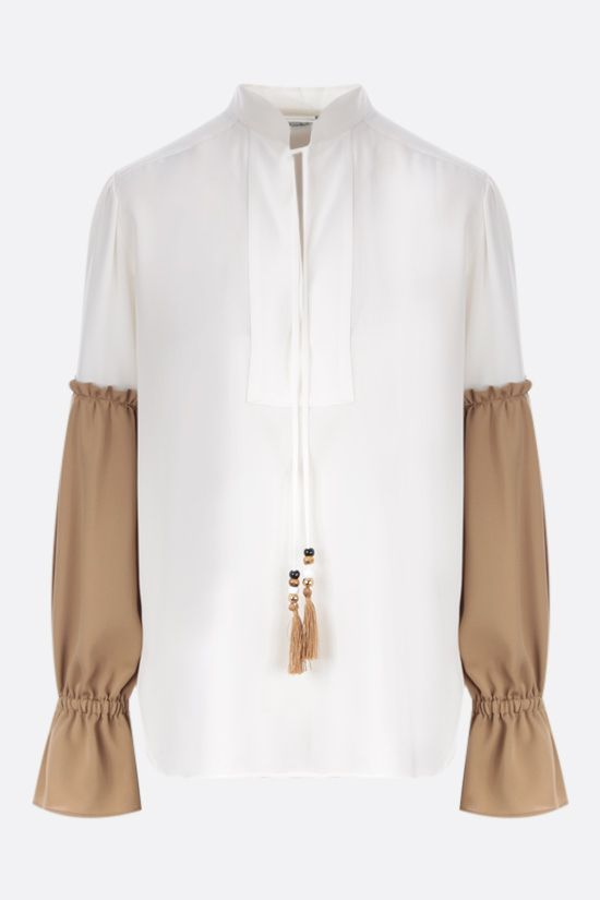 MAX MARA: Rail silk blouse Color White_1