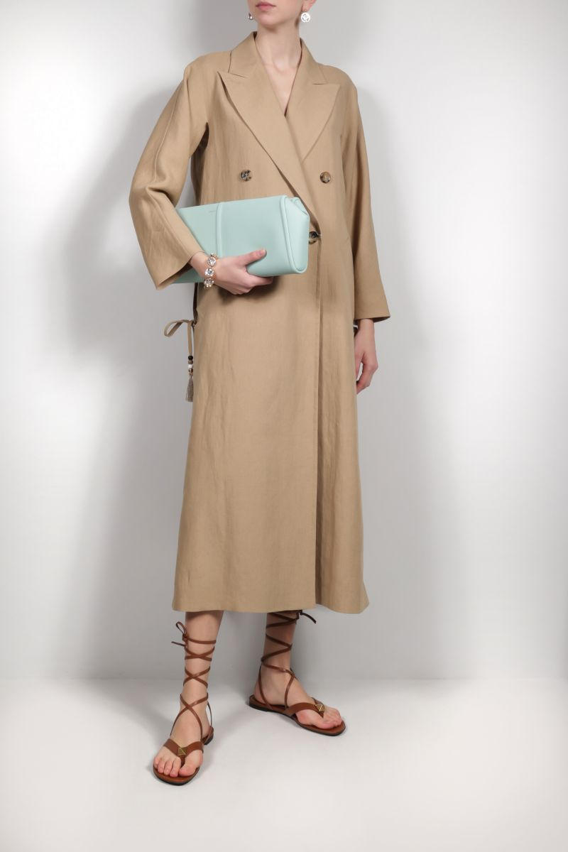 MAX MARA: Elsap smooth leather clutch Color Green_2