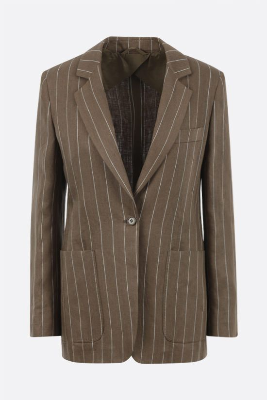 MAX MARA: Marisa single-breasted pinstriped linen jacket Color Brown_1