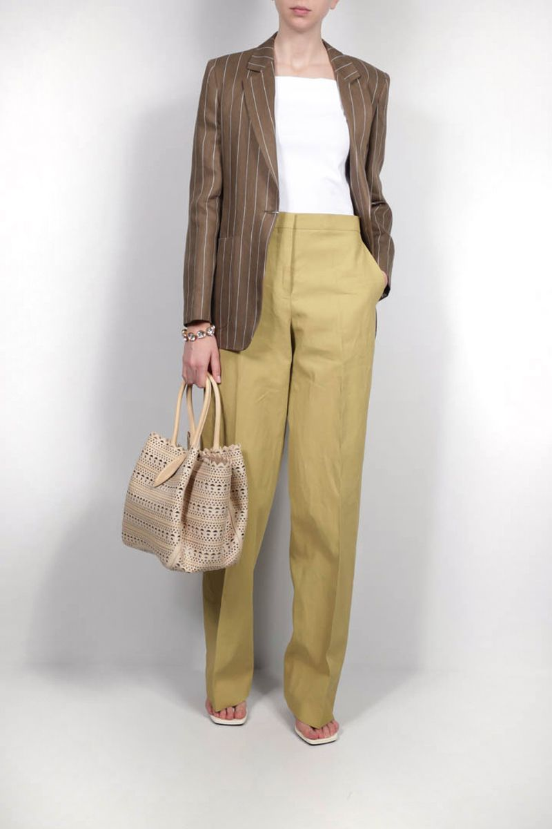 MAX MARA: Marisa single-breasted pinstriped linen jacket Color Brown_2