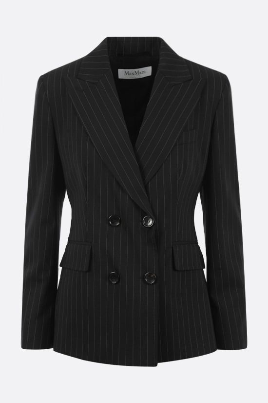 MAX MARA: Spoleto pinstriped double-breasted wool canvas jacket Color Black_1